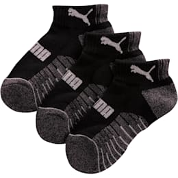 Boys' Extended Terry Quarter Crew Socks [3 Pack], BLACK COMBO, small